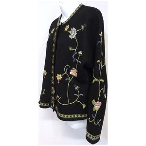 Tally-Ho Floral Black Wool Cardigan Shell Buttons